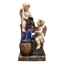 Large Cherub 3 Tiered Fountain with Halogen Light