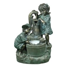 Old Fashioned Pump Fountain with 2 Kids and LED Lights