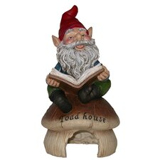<strong>Alpine</strong> Gnome Reading Book on Toadhouse Statue