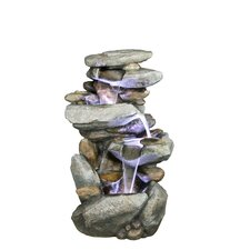 Rock Fiberglass Fountain with LED Lights