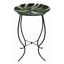 Green Abstract Glass Birdbath with Stand