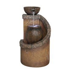 Fiberglass Tiered Pot Fountain with LED Light