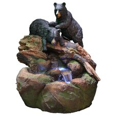 <strong>Alpine</strong> Fiberglass Bears Stream Fountain with LED Light