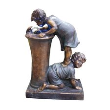 Fiberglass Resin Boy and Girl Drinking Fountain with LED Light