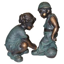 "<strong>Alpine</strong> Girl Tying Boy""s Shoe Statue"