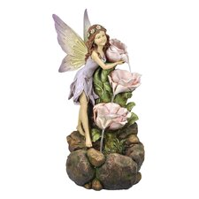<strong>Alpine</strong> Polyresin Fairy and Tiered Flowers Fountain with LED Light