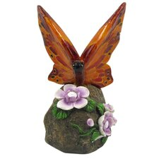 Butterfly on Rock with Flowers Statue