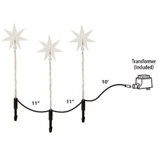 Star Garden Stake with 60 LED Lights (Set of 3)