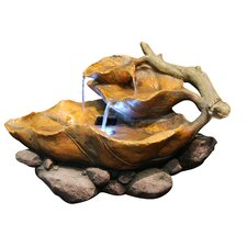 Fiberglass Tiered Tabletop Leaf Fountain