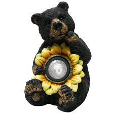 Bear with Solar Sunflower Garden Statue