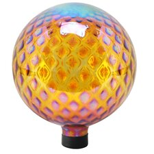 Glass Gazing Globe with Diamond Pattern