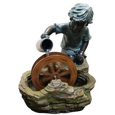 Polyresin Boy with Wheel Sculptural Fountain