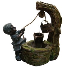 Polyresin Boy Fetching Water Sculptural Fountain