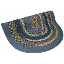 Minuteman Blue Multi with Dark Blue Solids Multi Round Rug