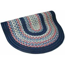 Pioneer Valley II Olympic Blue with Dark Blue Solids Multi Round Outdoor Rug