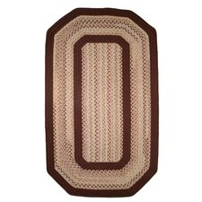 Pioneer Valley II Buckskin with Burgundy Solids Elongated Octagon Outdoor Rug
