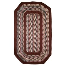 Pioneer Valley II Indian Summer with Burgundy Solids Elongated Octagon Outdoor Rug