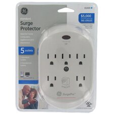 5-Outlet 360 Joules in Wall Surge Protector