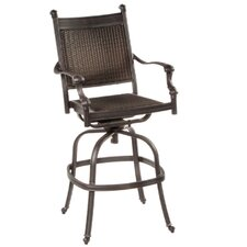"Anchor 30"" All-Weather Wicker Swivel Bar Arm Chair (Set of 2)"