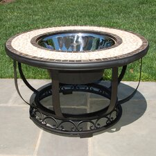 Umbria Mosiac Fire Pit and Beverage Cooler Table