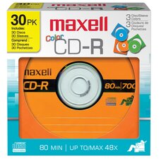 30 Count Assorted Colors CD-R Disc