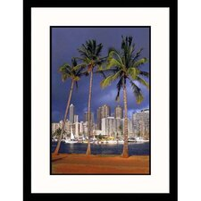 <strong>Great American Picture</strong> Honolulu Palm Trees in Hawaii Framed Photograph - Scott Berner