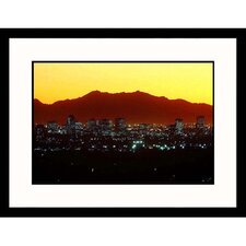 Cityscapes Night Central Avenue in Phoenix, Arizona Framed Photographic Print