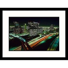 Cityscapes 'Los Angeles Skyline at Night' by Josh Mitchell Framed Photographic Print