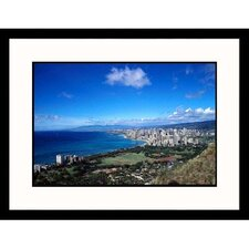 <strong>Great American Picture</strong> Oahu Aerial Hawaii Framed Photograph - Barry Winiker