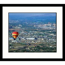 Ballon Floating Over Downtown Albuquerque Framed Photograph - Yvette Cardozo
