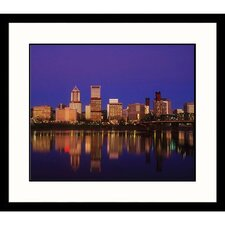Cityscapes Portland Oregon at Night Framed Photographic Print