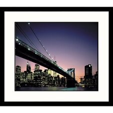 Cityscapes Brooklyn Bridge Dusk Framed Photographic Print