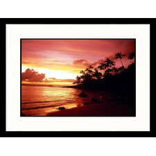 Seascapes 'Palm Trees at Sunset' by Rick Raymond Framed Photographic Print