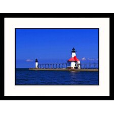 <strong>Great American Picture</strong> St. Joseph North Pier Lights Framed Photograph - David Davis