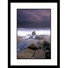 Rock in Stormy Sea Framed Photograph - Gareth Rockliffe