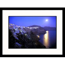 Moonrise Over Greece Framed Photograph - Kevin Beebe