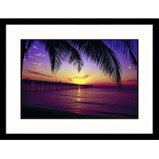 <strong>Great American Picture</strong> Sunrise on Fishing Pier Framed Photograph - Warren Flagler