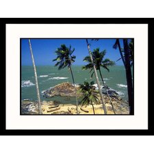 Seascapes Palm Trees, Waves, and Beach Framed Photographic Print