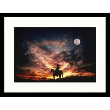 Cowboy and Moon, Arizona Framed Photograph - Mick Roessler