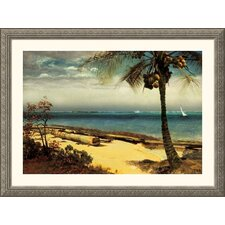 <strong>Great American Picture</strong> Tropical Coast Silver Framed Print - Albert Bierstadt