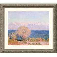 Museum Reproductions 'View of the Bay at Antibes and the Maritime Alps' by Claude Monet Framed Painting Print