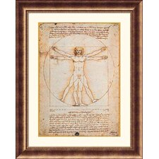 Proportions of the Human Figure (Vitruvian Man) Bronze Framed Print - Leonardo da Vinci