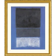 <strong>Great American Picture</strong> No.14, 1957 (White and Greens in Blue) Gold Framed Print -  Mark Rothko