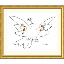 Dove of Peace - Blue Gold Framed Print - Pablo Picasso