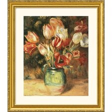Vase with Tulips Gold Framed Print - Pierre Auguste Renoir