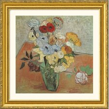 Roses and Anemones Gold Framed Print - Vincent van Gogh