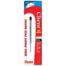 Black Medium Point Client Ball Point Pen Refill (Set of 6)