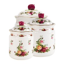 Old Country Roses 3 Piece Canister Set