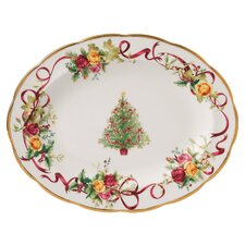 "Old Country Roses Christmas Tree 10.7"" Oval Platter"