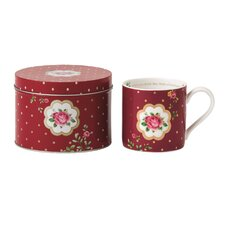 New Country Roses White Mug with Tin Container
